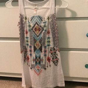 White tank top with colorful patterns all over